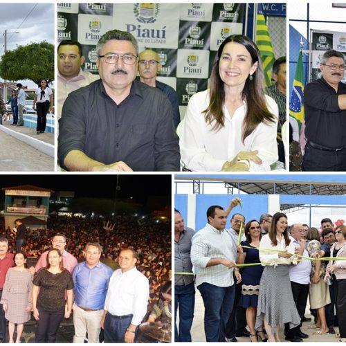 Prefeito inaugura obras e promove shows no dia do aniversário de Simões; veja toda a cobertura