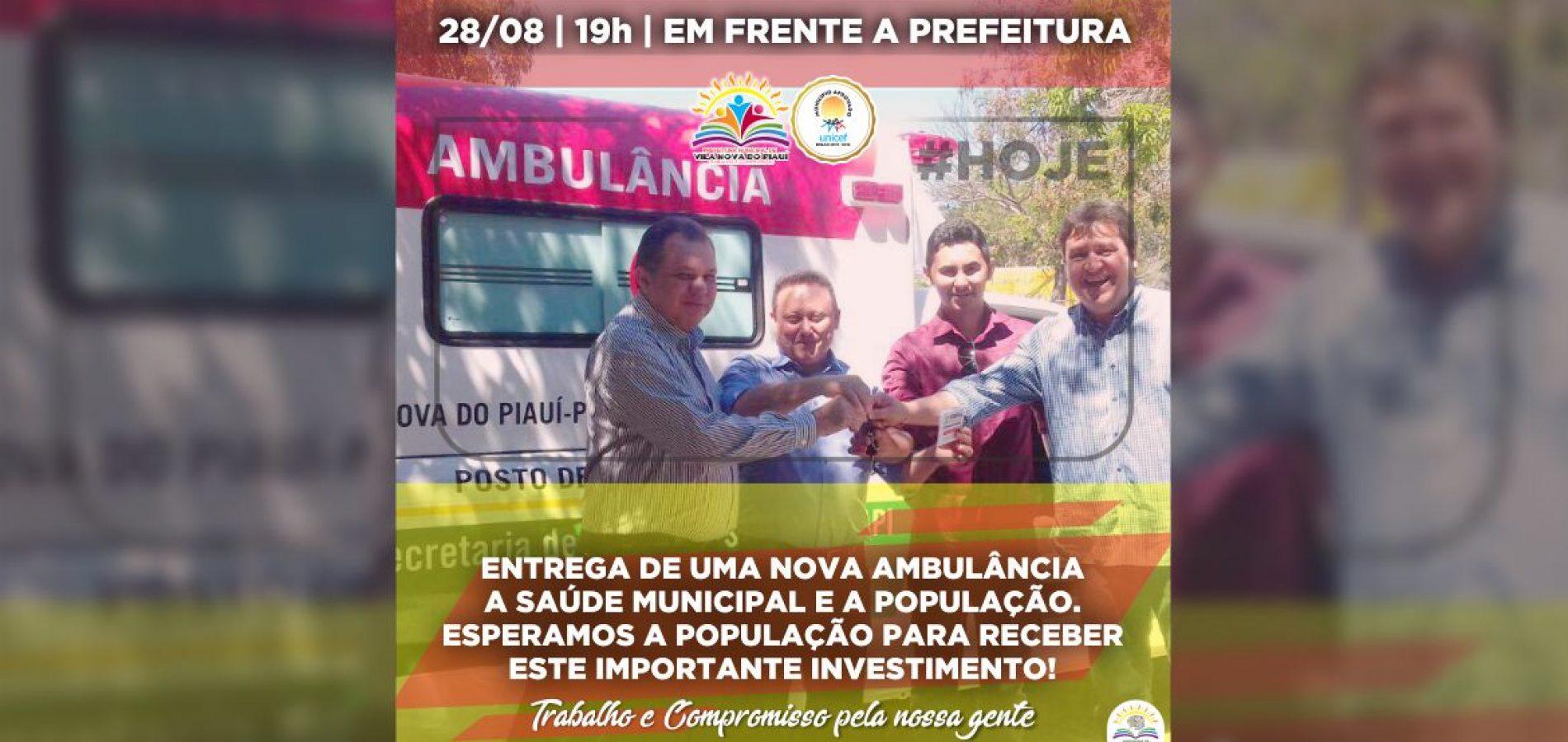 Prefeito de Vila Nova recebe ambulância 0 Km e fará entrega a população hoje às 19h