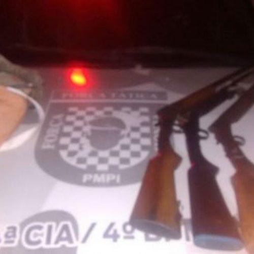 Forca Tatica de Fronteiras apreende 3 armas de fogo na região da BR 020 município de Pio IX