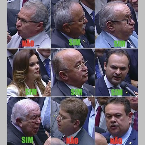 Com 3 NÃO, 6 SIM e ausência de Marcelo Castro da bancada do Piauí, Câmara livra Temer