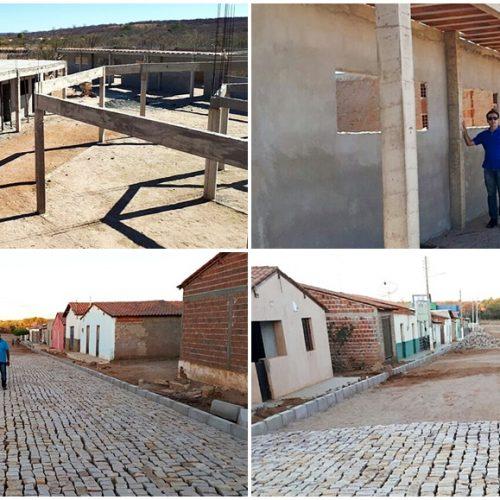Prefeito Chico Carvalho visita obras de construção de escola e pavimentação na zona rural de Massapê do PI