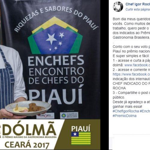 Chef piauiense faz campanha para concorrer a Prêmio Dolmã 2017. Vote!
