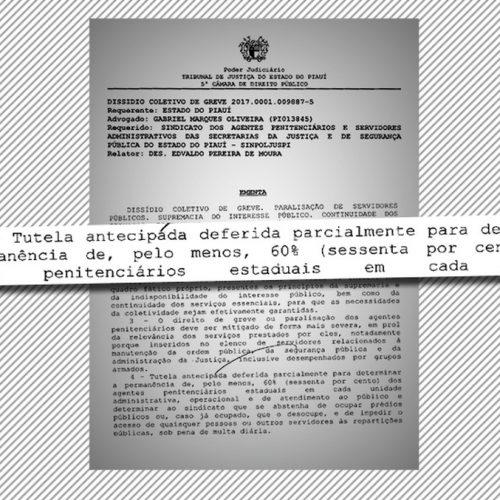 TJ-PI determina presença de 60% de agentes penitenciários durante greve sob multa de R$ 10 mil por dia