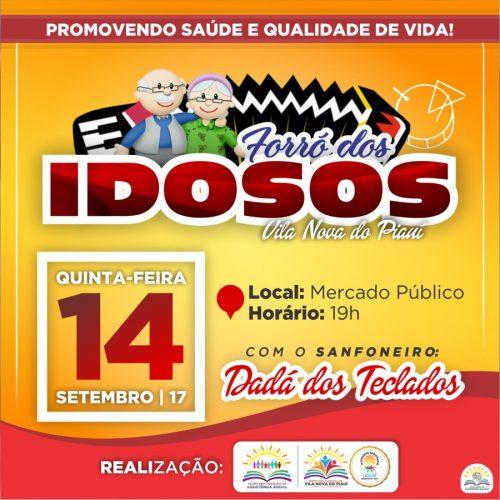 Assistência Social de Vila Nova realizará forró dos idosos nesta quinta-feira (14). Participem!