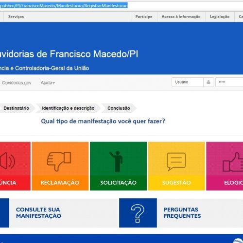 Francisco Macedo é segundo município no Piauí a aderir ao sistema de ouvidoria disponibilizado pela CGU