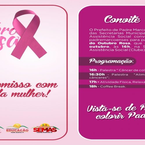 Prefeitura de Padre Marcos  realiza  ações do Outubro Rosa nesta sexta-feira (27)