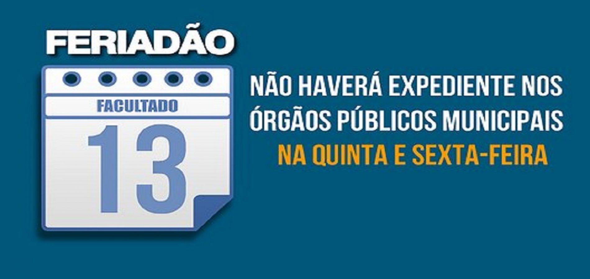 Prefeitura de Francisco Macedo decreta ponto facultativo dia 13 de outubro