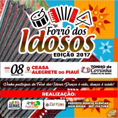"""Cultura e Social anunciam """"Tonho de Corrinha"""" para o último forró dos idosos deste ano em Alegrete do Piauí"""