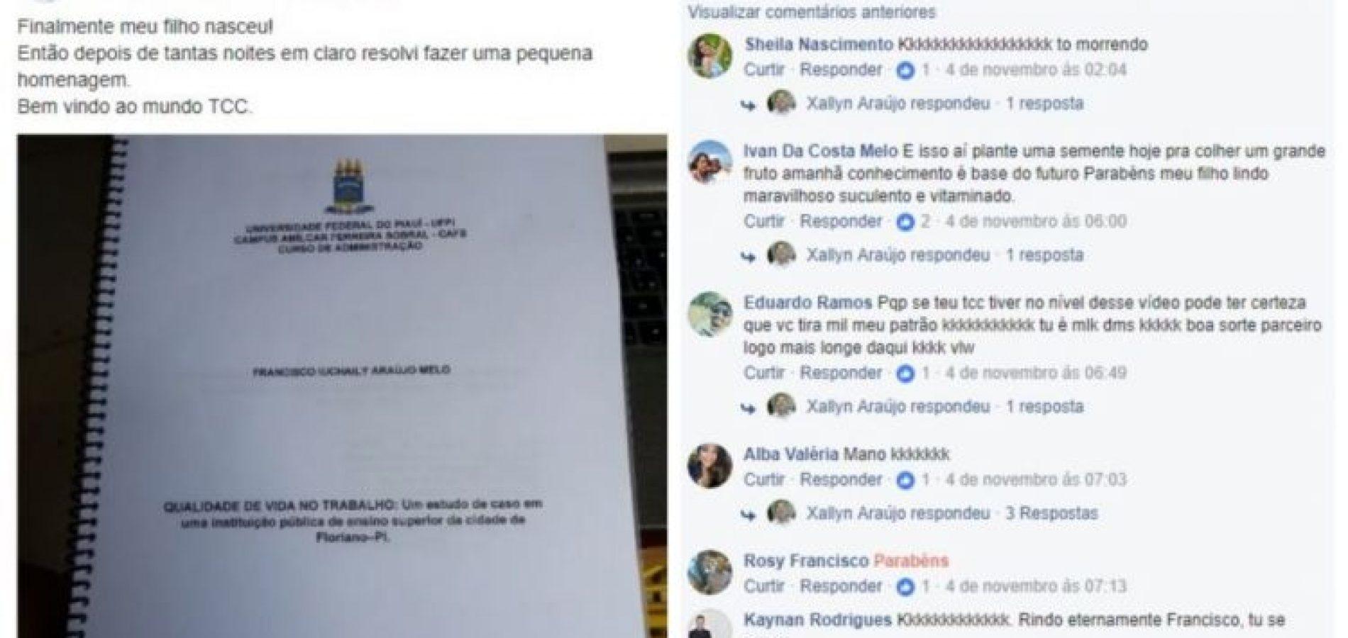 Vídeo bem-humorado de aluno piauiense mostrando TCC pronto viraliza nas redes sociais