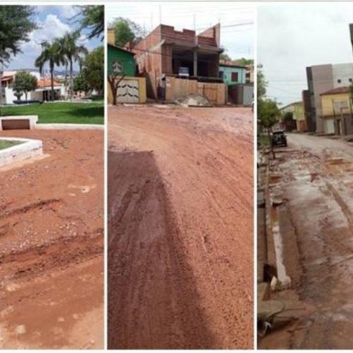 Com depredação e desmatamento dos morros lama invade ruas da cidade de Picos