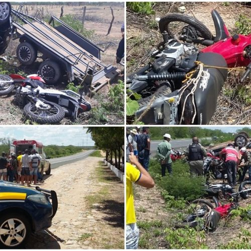 Motorista tomba carro e reboque com sete motos na BR 316; veja fotos