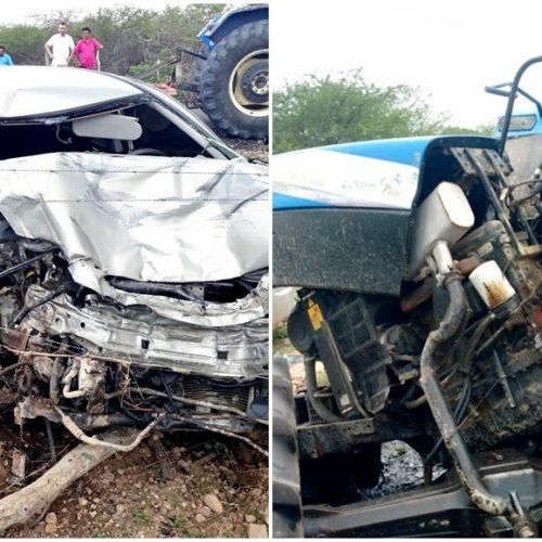 Acidente com carro e trator deixa uma pessoa ferida em Jaicós; veja fotos!