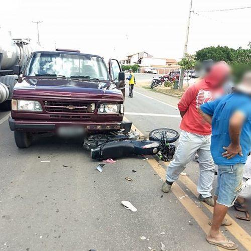 Colisão entre moto e D-20 em Paulistana deixa um adolescente e duas crianças feridos