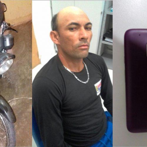 PM prende acusado de furtos em Simões e recupera celular e motocicleta