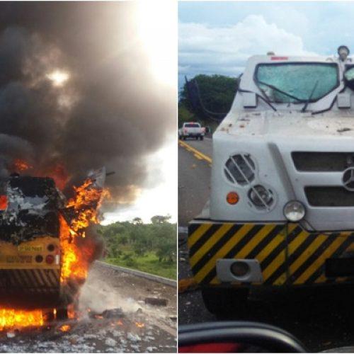 Dois carros fortes são assaltados na mesma tarde em rodovias no Piauí; veja vídeos