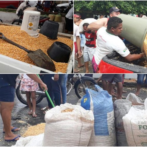JAICÓS   Populares levam carga de milho após acidente com carreta; veja imagens