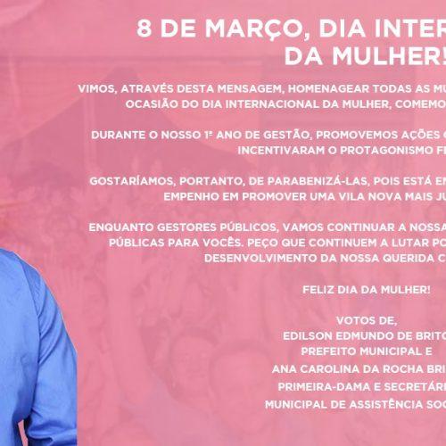 Prefeito e primeira dama de Vila Nova homenageiam as mulheres pelo seu dia. Veja!