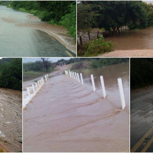 Forte chuva faz rios e riachos transbordarem em Massapê do Piauí; Veja fotos e vídeo