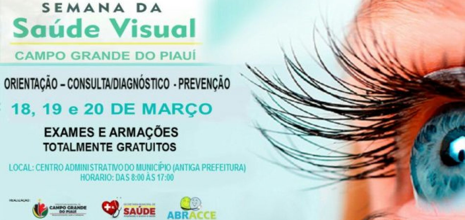 CAMPO GRANDE   Prefeitura e ABRACCE realizarão Semana da Saúde Visual com consultas e armações de óculos gratuitas