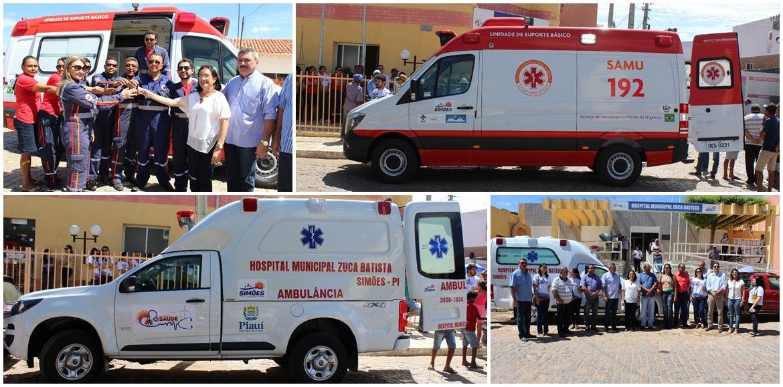 Prefeito Zé Ulisses entrega duas ambulâncias em Simões e reforça serviços na saúde