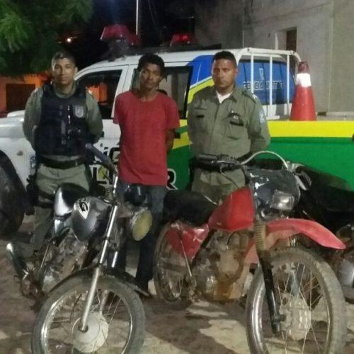 PM prende ladrão e recupera motos furtadas em Jaicós e Caldeirão Grande