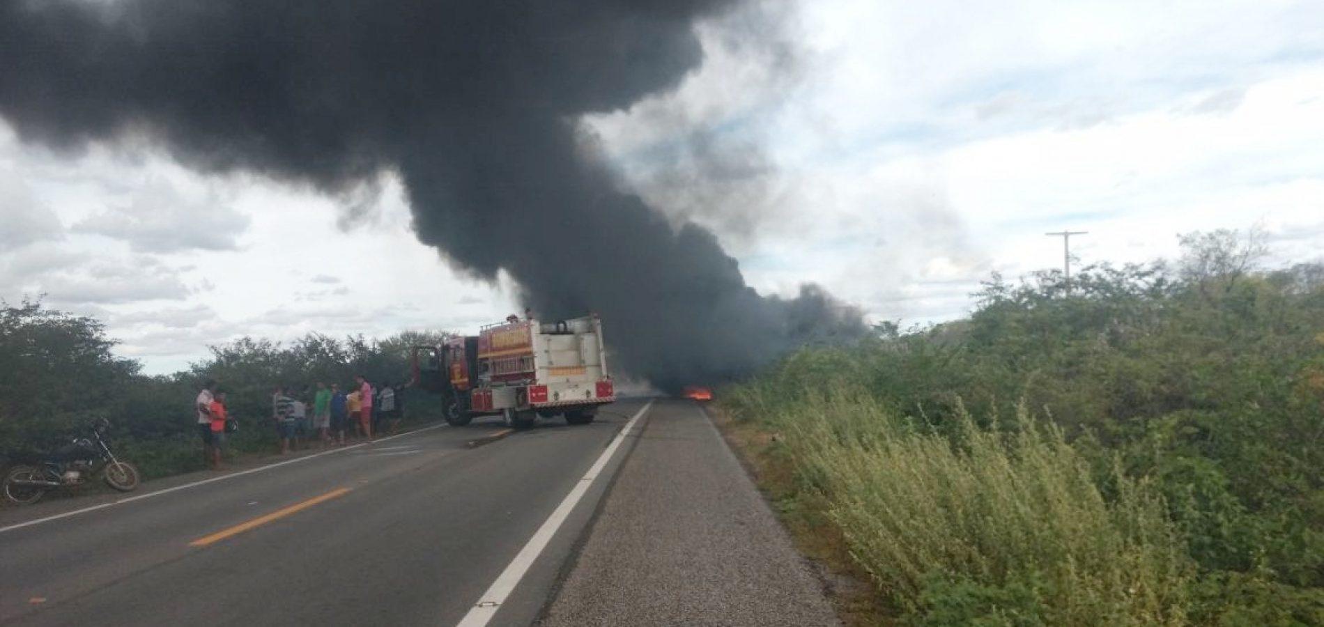 Caminhão incendeia na BR-407 próximo a Geminiano