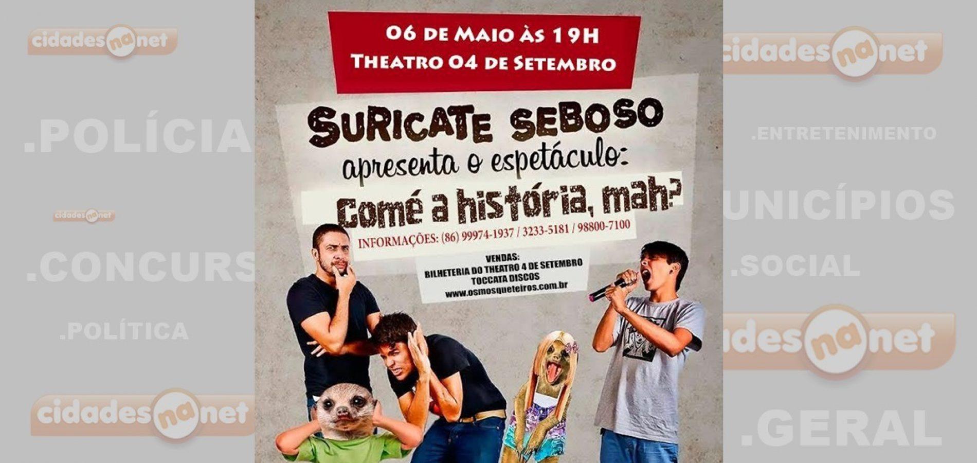 'Suricate Seboso' apresenta show em Teresina no domingo (06)