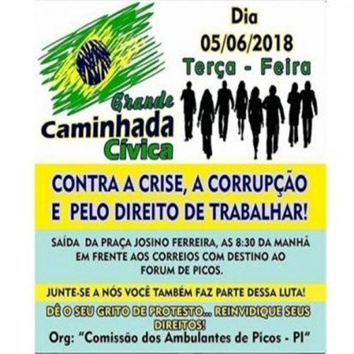 """Ambulantes de Picos promovem """"Caminhada Cívica"""" pelo direito de trabalhar"""