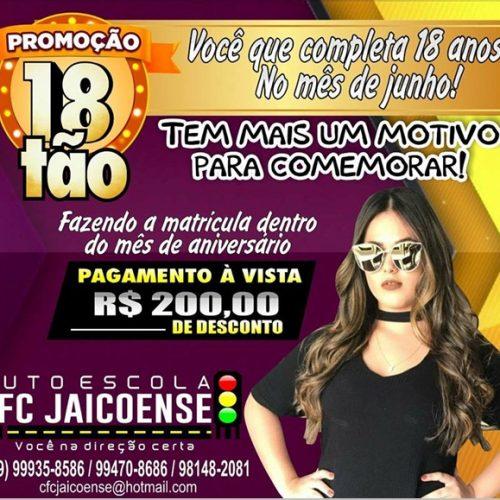 Auto Escola Jaicoense lança promoção '18tão' com R$ 200 reais de desconto na CNH