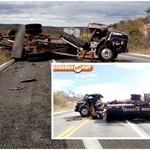 Caminhão pipa tomba e deixa motorista ferido na BR-407 em Jaicós