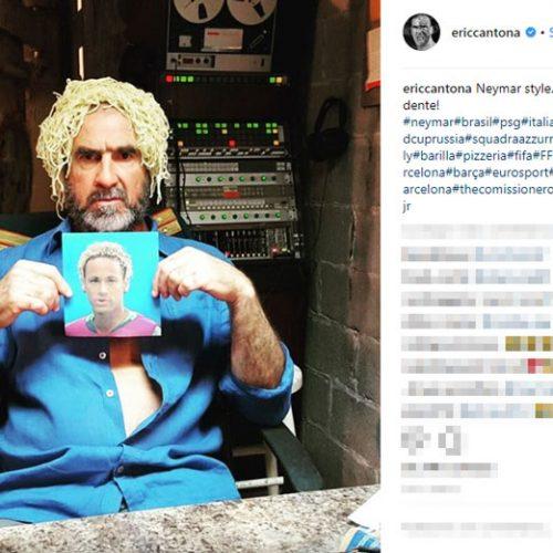Com macarrão na cabeça, Eric Cantona ironiza cabelo do Neymar