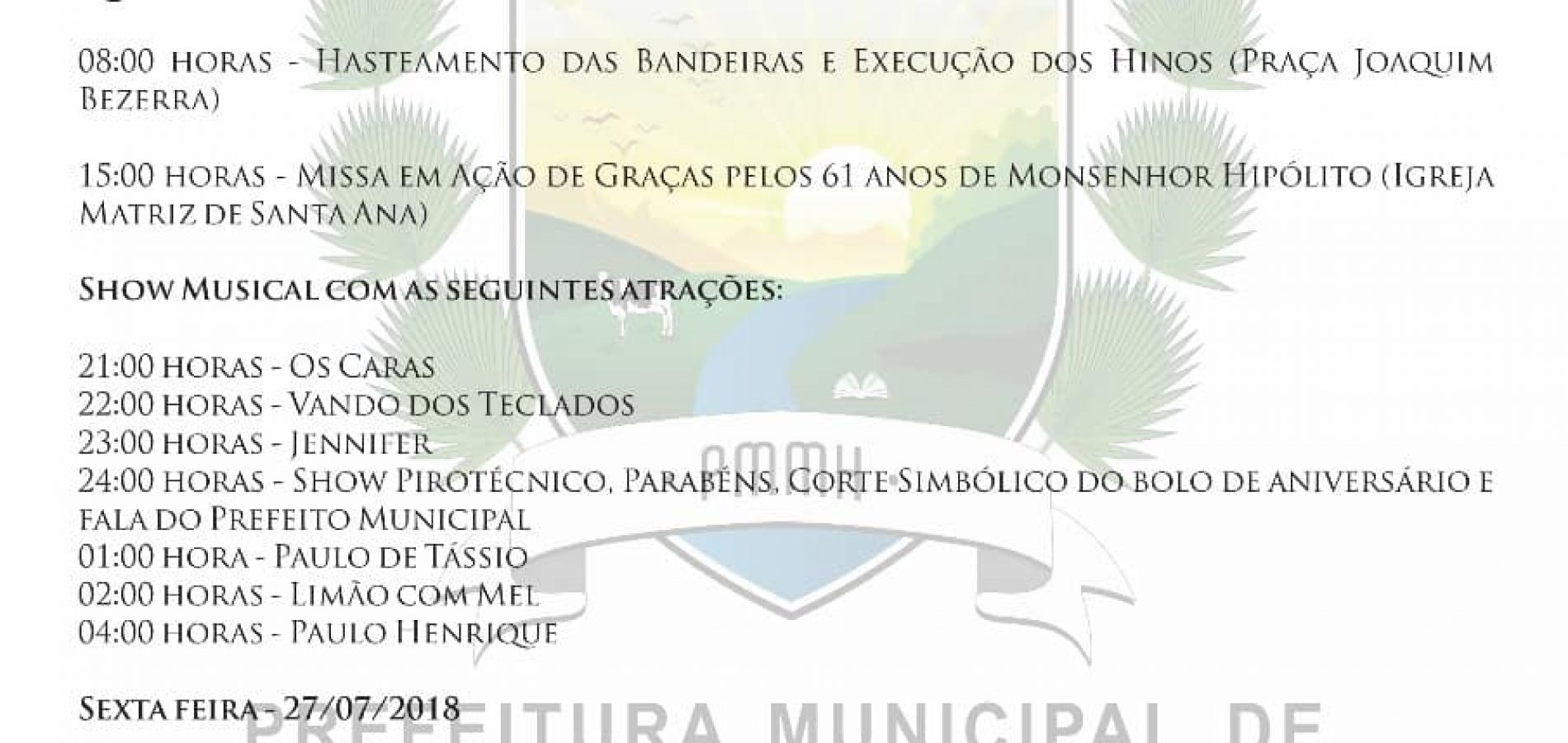 Prefeito Zenon Bezerra divulga programação do 61° aniversário de Monsenhor Hipólito