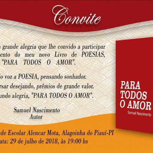 Poeta Samuel Nascimento lança livro no próximo domingo (29) em Alagoinha do Piauí