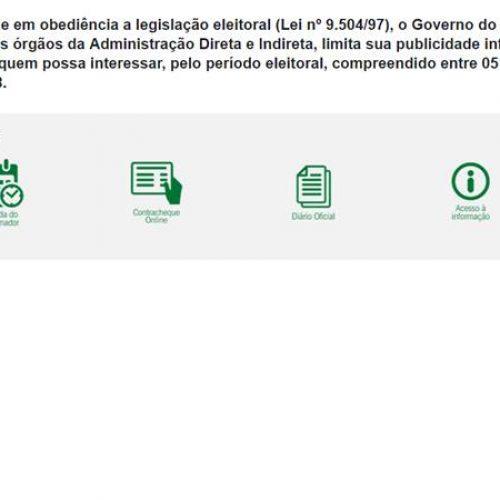 Eleições: site do Governo do Piauí fica fora do ar até outubro