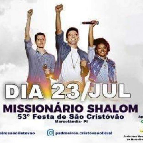 Prefeitura de Marcolândia anuncia show católico com a banda Missionário Shalom no 53º festejo de São Cristóvão