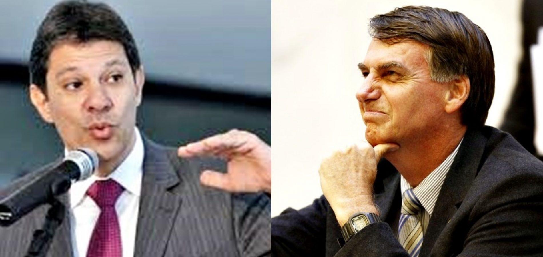 Em nova pesquisa do IBOPE, Bolsonaro estaciona e Haddad cresce 3 pontos; veja