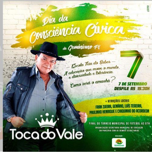 Dia da Independência do Brasil será comemorada com desfile e show com Toca do Vale em Geminiano