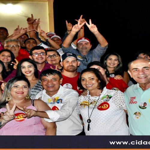 Wellington Dias e o time do povo fazem campanha e têm recepção carinhosa em Fronteiras; veja fotos