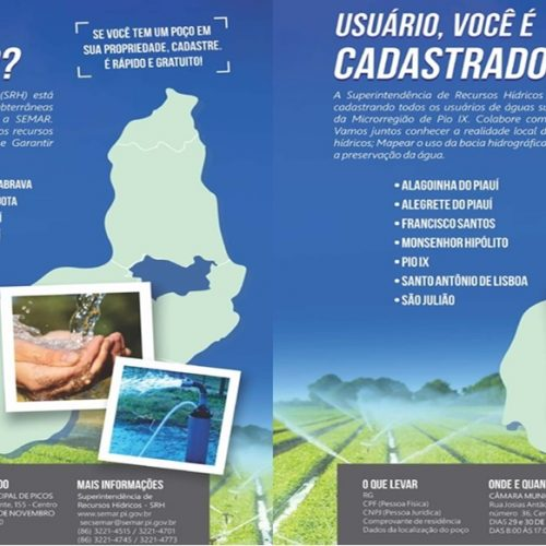 Semar inicia cadastramento de usuários de água na região de Picos e Pio IX