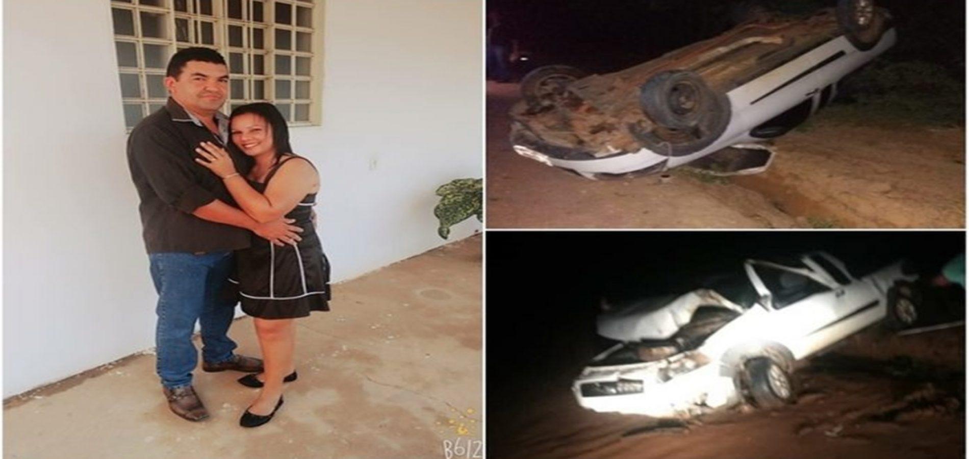 Homem morre e mulher fica ferida após carro capotar no  Piauí