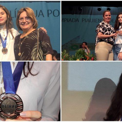 FRONTEIRAS   Aluna da Escola Nossa Senhora de Fátima recebe medalha em Teresina