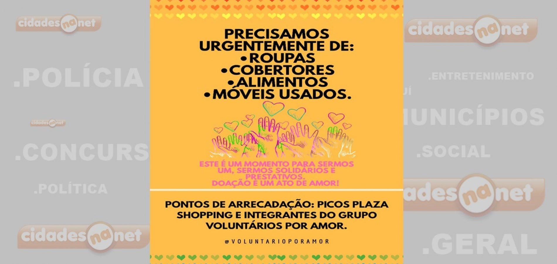 Em Picos, Grupo Voluntários Por Amor realiza campanha em prol das famílias desabrigadas; saiba como ajudar