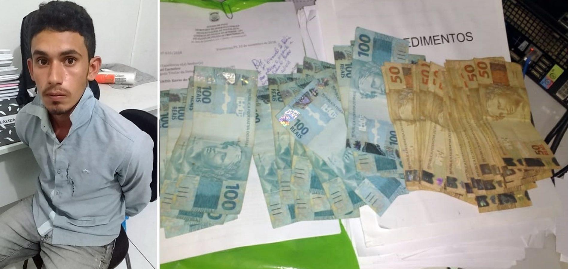 Em Jaicós, homem é preso após aplicar golpe na feira livre e furtar R$ 4 mil; dinheiro foi recuperado