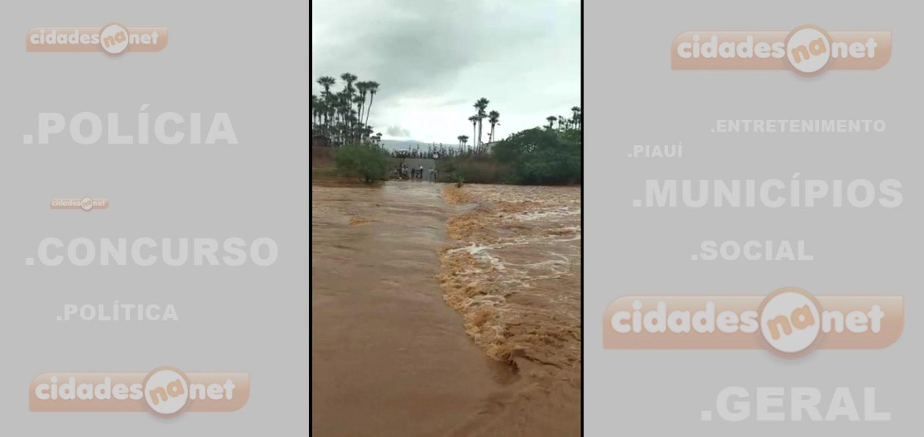 Após fortes chuvas,  Rio Itaim transborda e interdita rodovia em Santa Cruz do Piauí; assista o vídeo