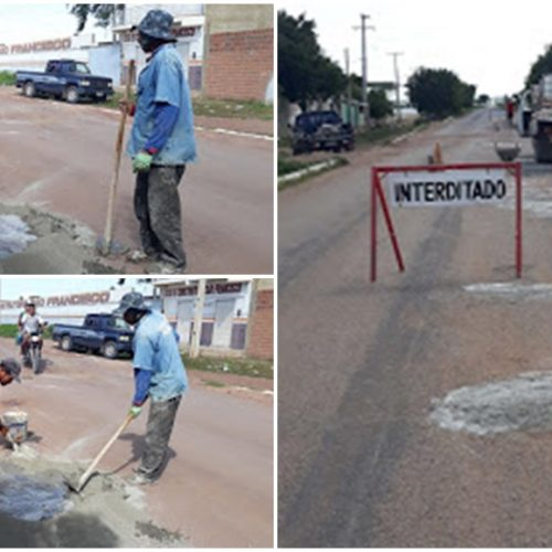 Prefeitura de Marcolândia realiza operação tapa-buraco na PI 142