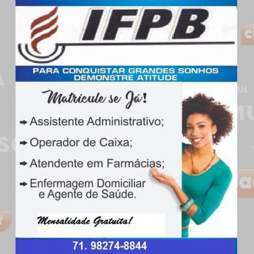 Inscrições para cursos profissionalizantes do IFPB iniciam hoje (18) em Campo Grande do Piauí