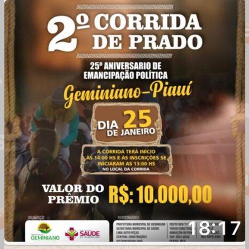 Prefeitura promove corrida de cavalos no aniversário de Geminiano