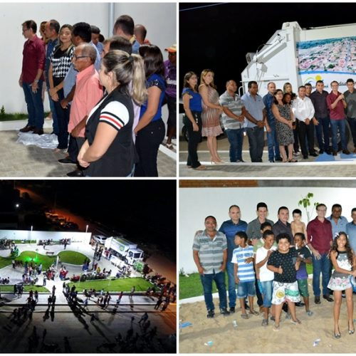 Em Massapê, prefeito Chico Carvalho inaugura praça e entrega caminhão compactador
