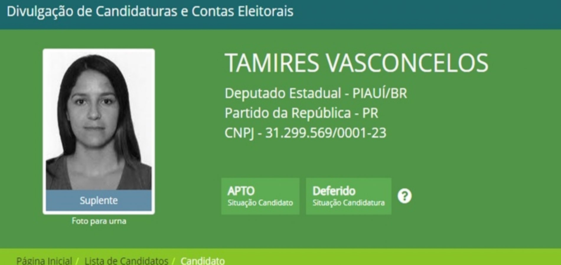 Candidata a deputada pelo PR do Piauí é apontada como laranja