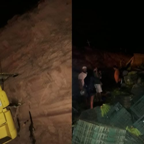 Caminhão carregado com banana colide em barranco e deixa motorista ferido na BR 316 em Marcolândia; fotos